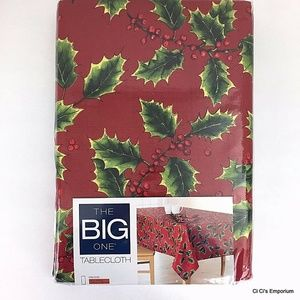 """Other - Christmas Holly Fabric Print Tablecloth 60"""" x 102"""""""